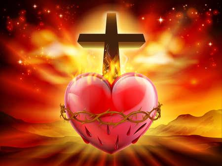 Illustratie van het christelijke symbool van het Heilig Hart, dat de goddelijke liefde van Jezus Christus voor de mensheid vertegenwoordigt.