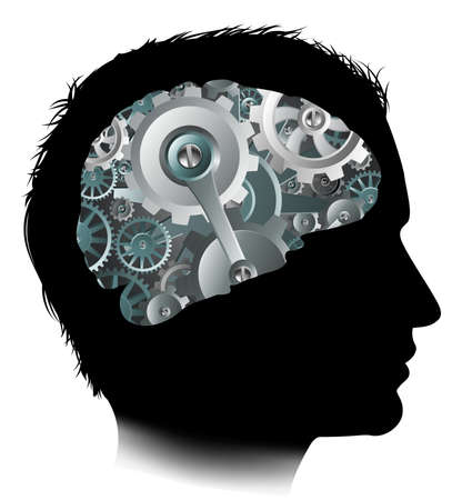 기계 작동 장치 톱니 바퀴 두뇌 개념 일러스트