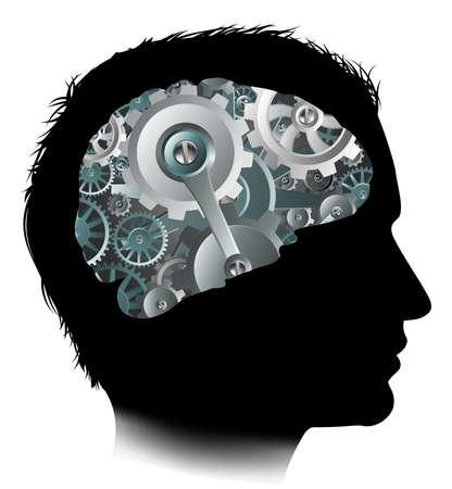 Machine Workings Gears Cogs Brain Man Concept
