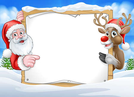 Christmas Sign Reindeer and Santa Background