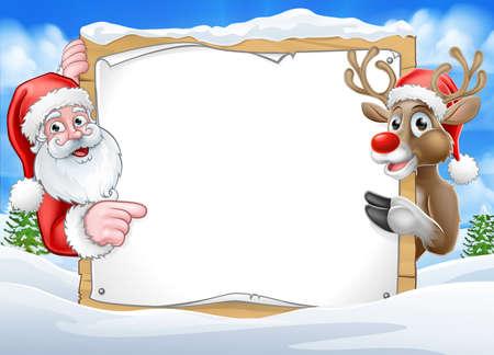 Weihnachtszeichen Rentier und Santa Hintergrund