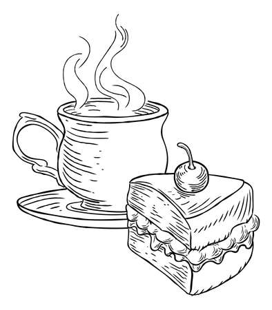 Cup of Tea and Cake Vintage Retro Style Illustration