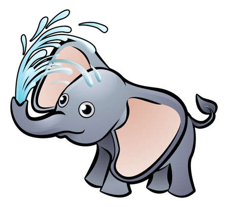 Elephant playing with water Cartoon Character Illustration