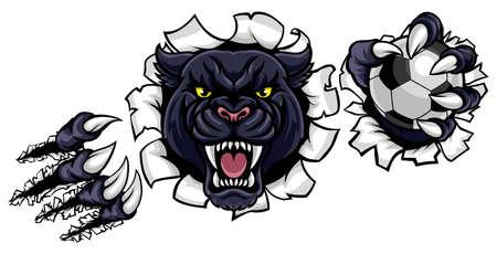 Schwarzes Panther-Fußball-Maskottchen, das Hintergrund bricht Standard-Bild - 90941873
