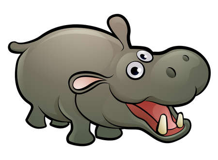 Hippo Animal Cartoon Character Vectores
