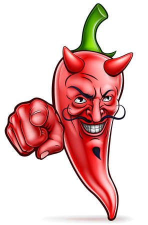 Devil red chilli pepper cartoon character mascot pointing his finger in a wants you gesture