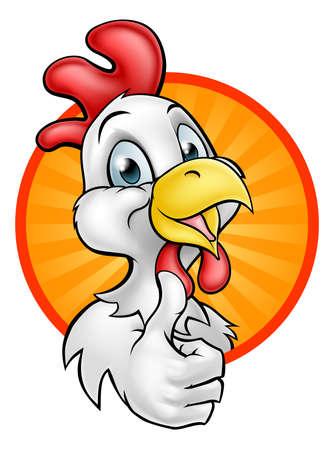 Een het beeldverhaalkarakter die van de kippenhaan duimen opgeeft