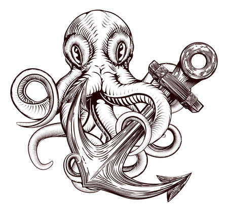 An original illustration of a tattoo of an octopus wrapped around a ships anchor in a vintage woodblock style
