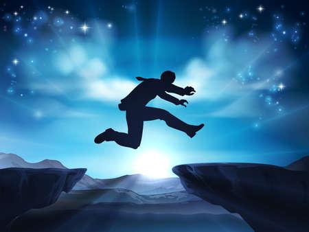 Een zakenman in silhouet dat over een berg of klif hoogste kloof springt. Een concept om een sprong in het diepe te zetten, moedig te zijn of grote risico's te nemen in het bedrijfsleven.