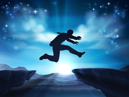 A businessman in silhouette jumping across a mountain or cliff top gap. A concept for taking a leap of faith, being courageous or taking high risks in business.  Vectores