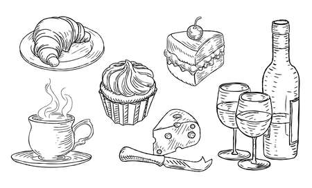 Cafe Food Vintage Retro Woodcut Style