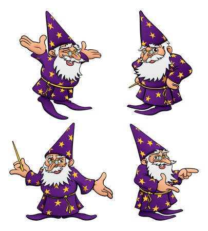 A cute cartoon wizard mascot character in various poses Ilustracja