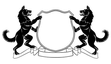 Honden heraldisch wapen Crest Shield Stock Illustratie