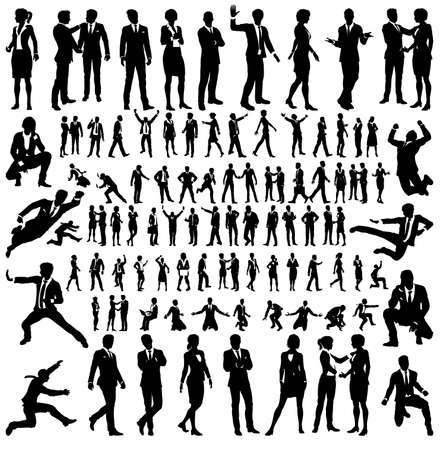 Business People Silhouettes Big Set