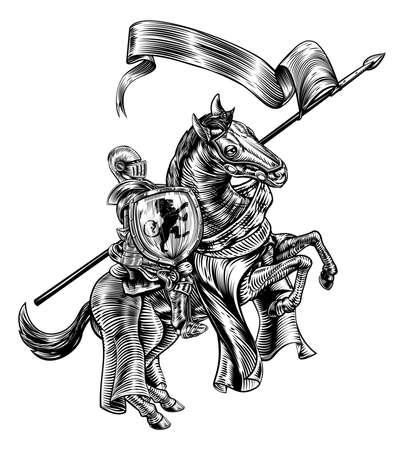 Chevalier médiéval sur le cheval Style de la gravure sur bois Vintage