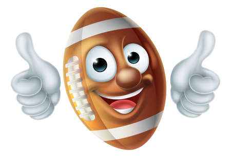 American Football Ball Cartoon Character Stock Photo