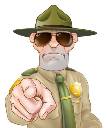 A serious looking park ranger or forest ranger pointing
