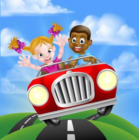 Cartoon Characters Driving Car