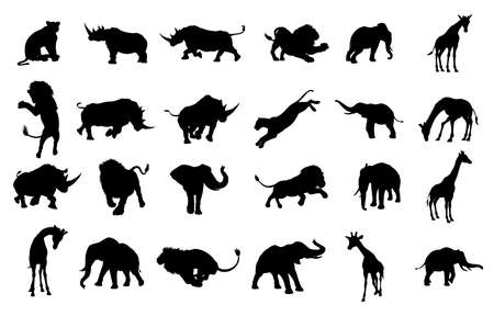 Silhouette African  Animals Vector illustration.