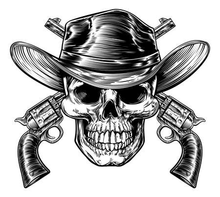 Cowboy Skull and Pistols