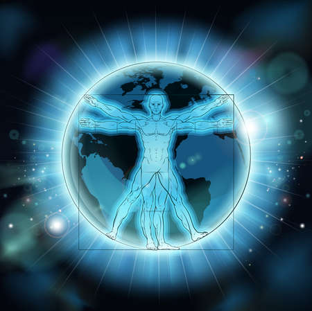 Vitruvian Man Earth World Globe Background Иллюстрация