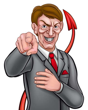 Evil looking businessman in a suit and tie pointing his finger in a needs you gesture with devil tail