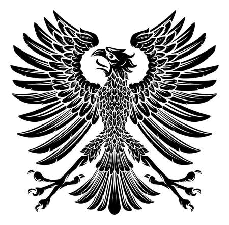 An imperial heraldic style eagle bird emblem
