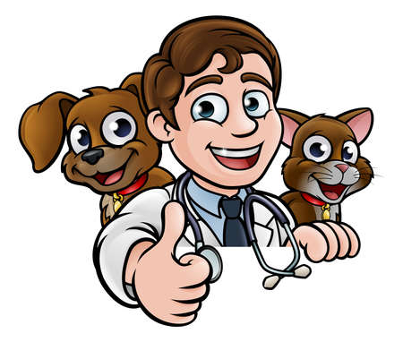 Vet Cartoon Character Thumbs Up Sign