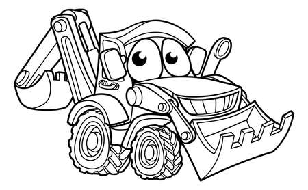 Bulldozer Digger Cartoon Character Фото со стока - 91867629
