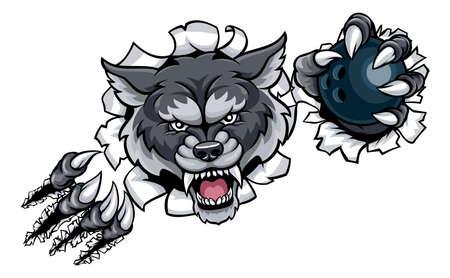 Wolf-Bowlingspiel-Maskottchen, das Hintergrund bricht Standard-Bild - 91946158