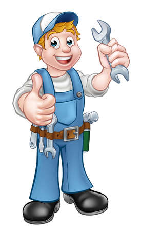 Plumber or Mechanic with Spanner.