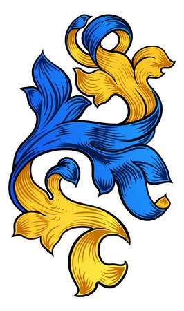 Scroll Pattern Filigree Floral Heraldry Design.