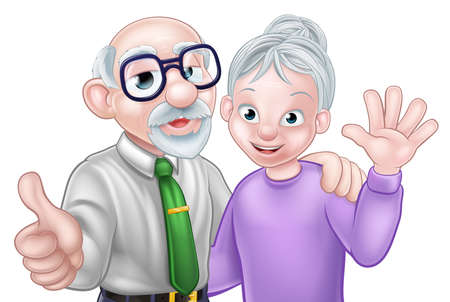 Senior Cartoon Couple 版權商用圖片 - 92045082