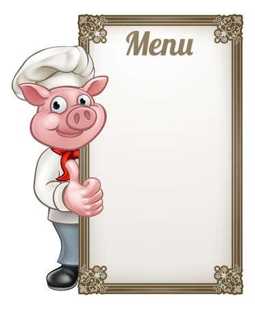 엄지 손가락을 포기하는 메뉴 사인 보드와 함께 돼지 요리사 만화 캐릭터 마스코트