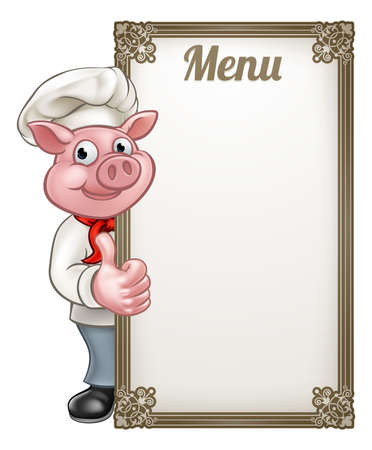A pig chef cartoon character mascot with a menu sign board giving thumbs up Vectores
