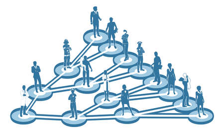 An illustration of interconnected linked people. A  viral marketing or social networking business concept Vectores