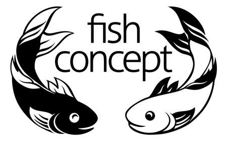 A fish icon concept symbol with two fish possibly koi carp  Illustration