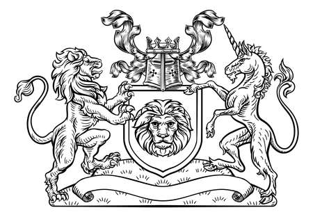 A lion and unicorn heraldic coat of arms shield crest emblem in a vintage retro woodcut style