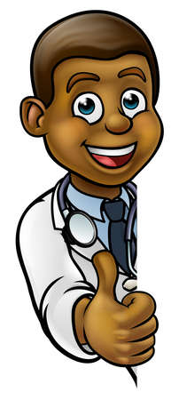 A cartoon doctor wearing lab white coat with stethoscope peeking around sign and giving a thumbs up Illustration