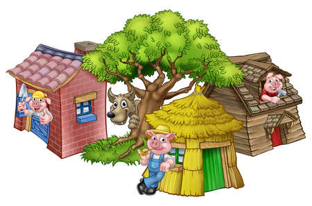 An illustration from the three little pigs childrens fairytale story, of the 3 pig cartoon characters with their straw, wooden and brick houses and the big bad wolf peeking from behind a tree.