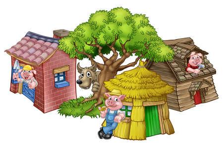 Uma ilustração da história de contos de fadas das três porquinhos, dos personagens de desenhos animados dos 3 porquinhos com suas casas de palha, madeira e tijolos e o grande lobo mau que espreita por trás de uma árvore.