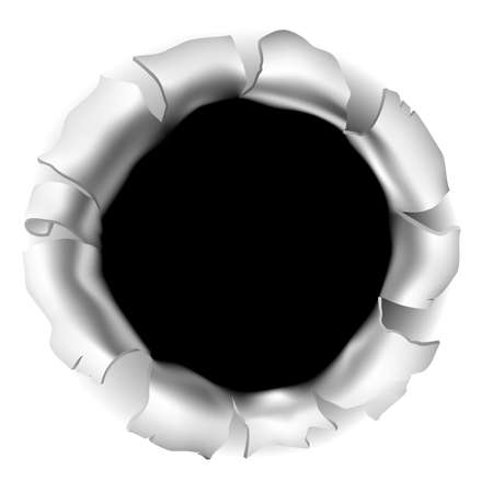Kogelgat of scheur door de achtergrond Stockfoto - 92883197