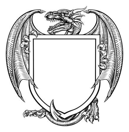 Een middeleeuws heraldisch wapenschild embleem met draak. Vector Illustratie