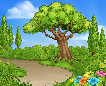 A cartoon park, country lane or garden background with trees and flowers