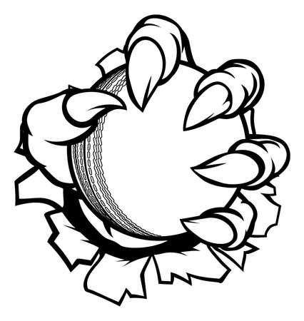 Ein Monster oder Tierklaue, die einen Kricketball hält und durch den Hintergrund bricht Standard-Bild - 92727544