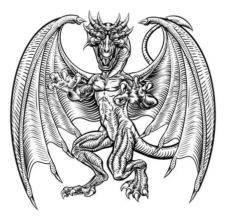 An illustration of a dragon fantasy monster in a hand drawn grunge woodcut style