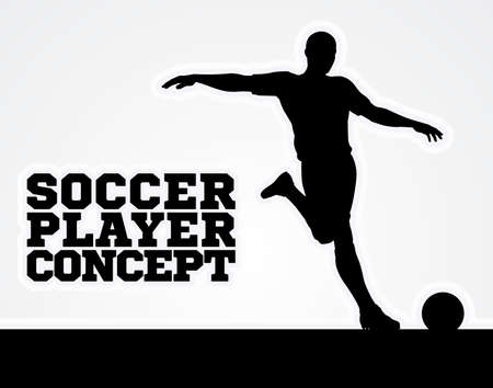 A silhouette of a soccer football player about to kicking the ball