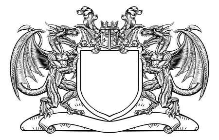 Dragon Shield Heraldic Crest Coat of Arms Emblem