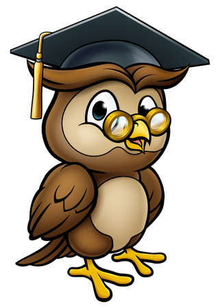 Wise Owl Graduate Teacher Character Иллюстрация