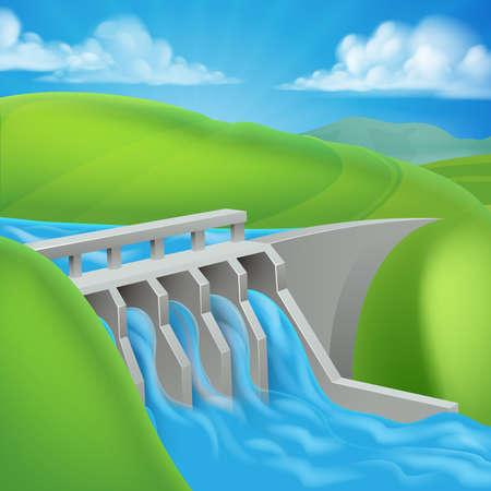 전력을 생산하는 수력 발전 댐